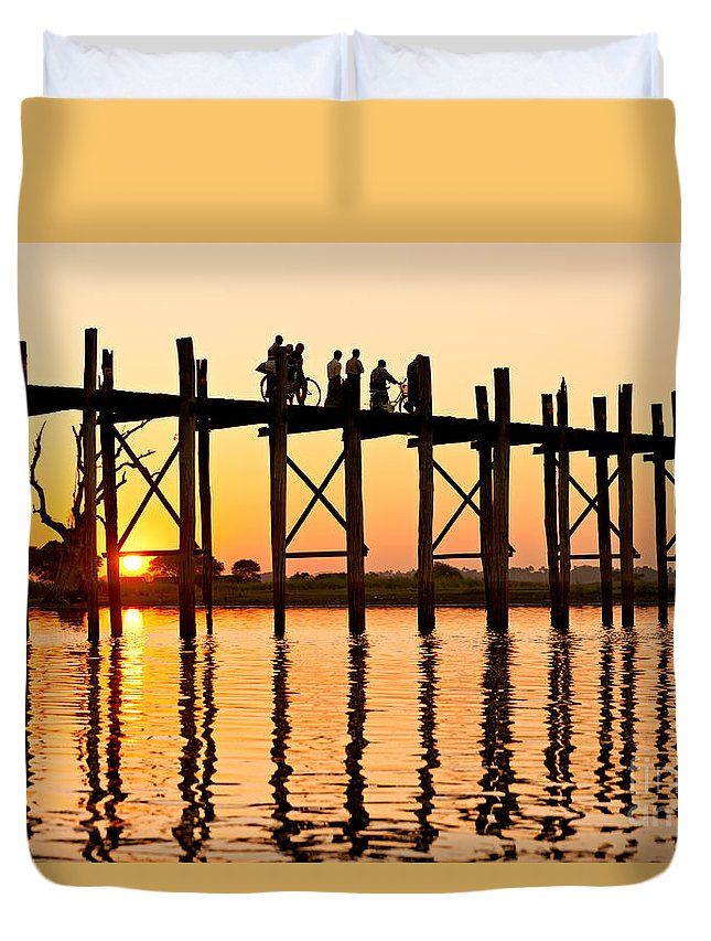 Ancient Duvet Cover featuring the photograph U Bein Bridge - Myanmar by Luciano Mortula