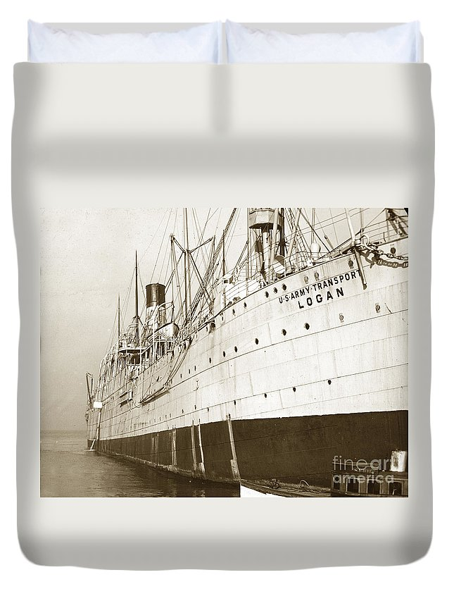 U.s. Army Duvet Cover featuring the photograph U. S. Army Transport Logan San Francisco California 1898 by California Views Archives Mr Pat Hathaway Archives