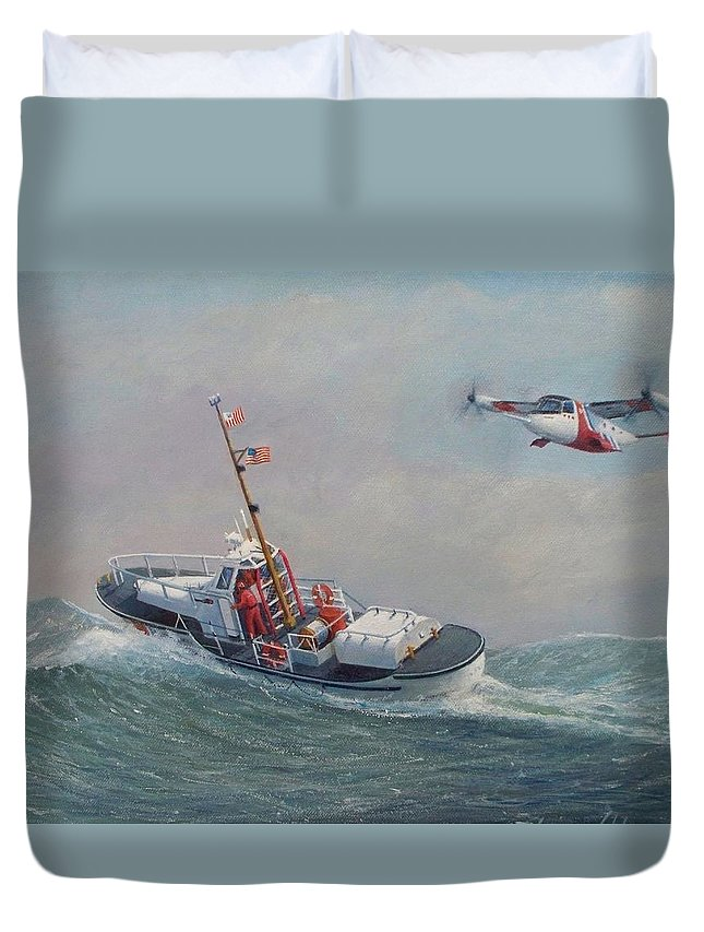 Seascape Duvet Cover featuring the painting U. S. Coast Guard 44ft Motor Lifeboat And Tilt-motor Aircraft by William H RaVell III