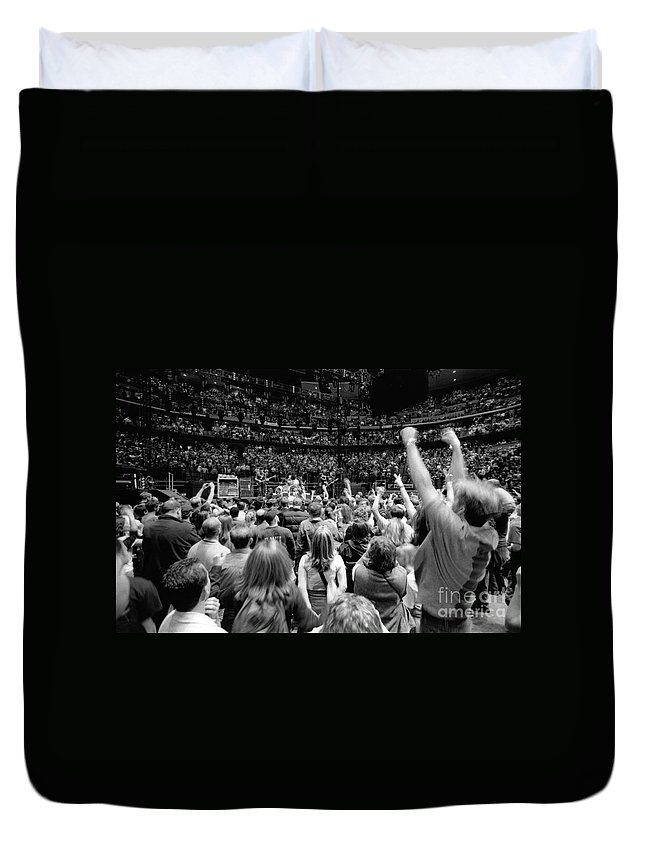Bono Duvet Cover featuring the photograph U2-crowd-gp13 by Timothy Bischoff