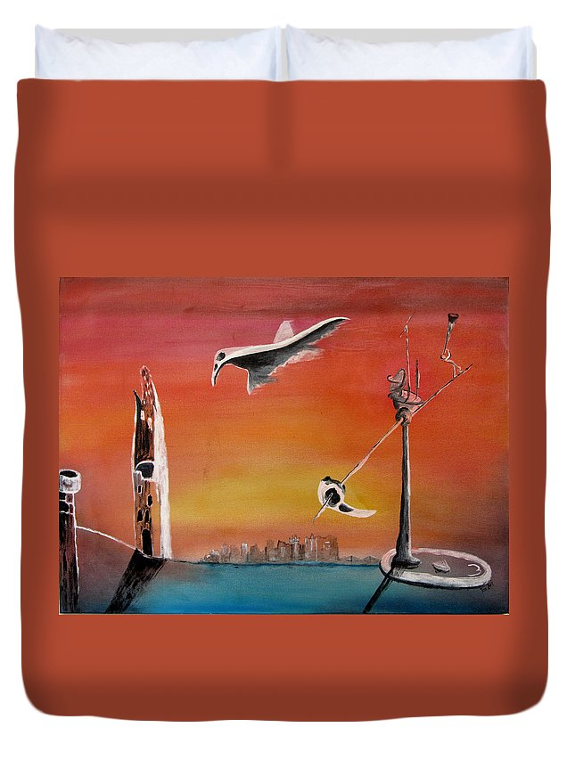 Uglydream Duvet Cover featuring the painting Uglydream911 by Helmut Rottler