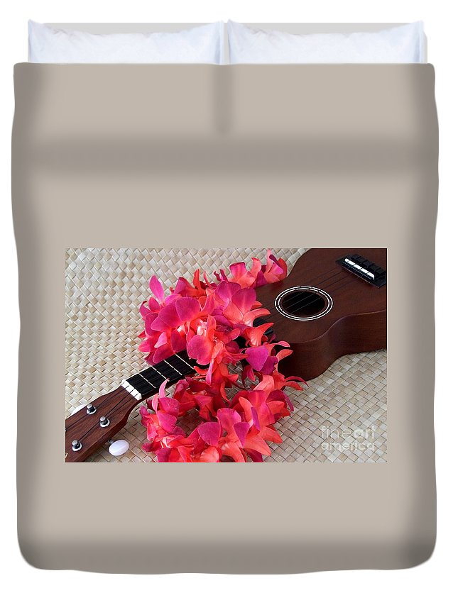 Ukulele Duvet Cover featuring the photograph Ukulele And Red Lei by Mary Deal