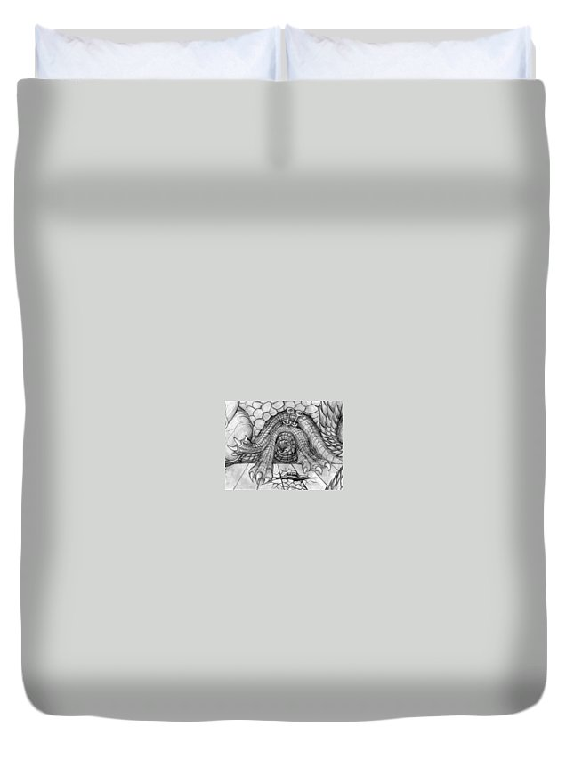 Ulcer Duvet Cover featuring the drawing Ulcer by Vincent Autenrieb