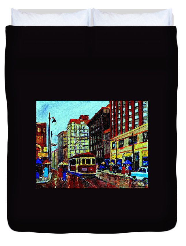 Downtown Montreal City Scenes Duvet Cover featuring the painting Umbrellas In The Rain Couples Stroll St.catherine Street Downtown Montreal Vintage City Scene by Carole Spandau
