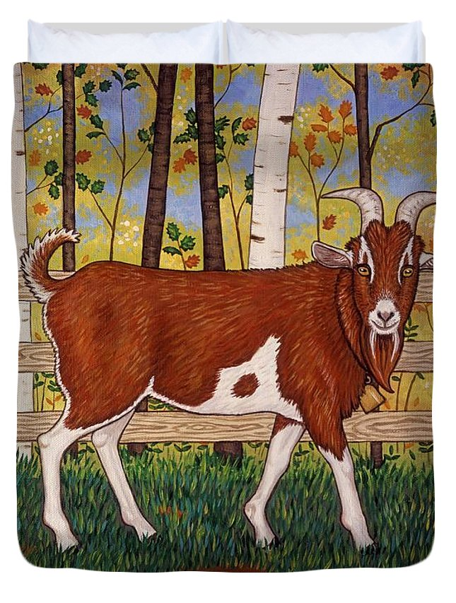 Folk Art Farm Animal Duvet Cover featuring the painting Uncle Billy's Goat by Linda Mears