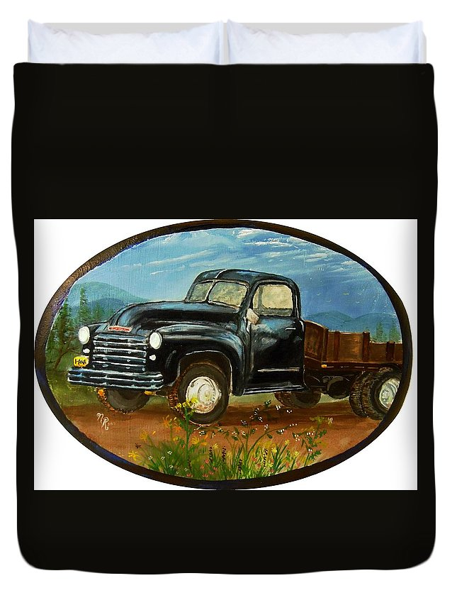 Antique Truck Duvet Cover featuring the painting Uncle Mac's Pride by Nicole Angell