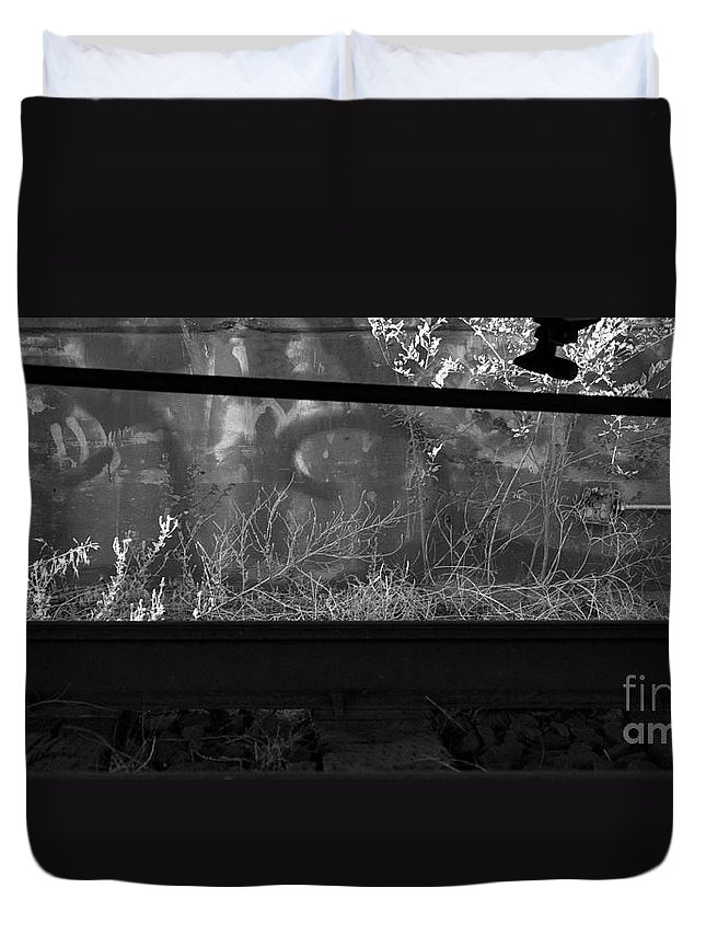 Digital Black And White Photo Duvet Cover featuring the digital art Under Bw by Tim Richards