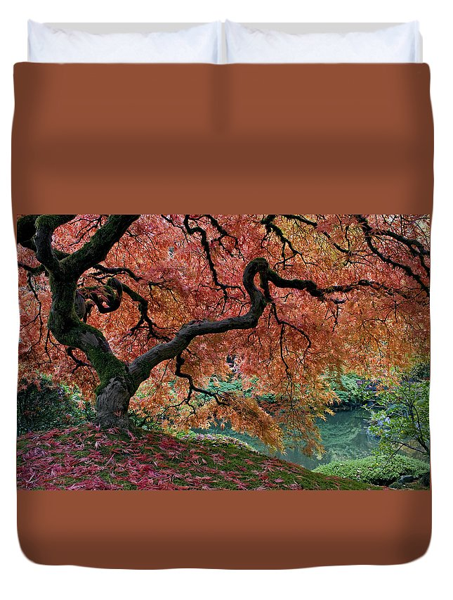 Under Fall's Cover Duvet Cover featuring the photograph Under Fall's Cover by Wes and Dotty Weber