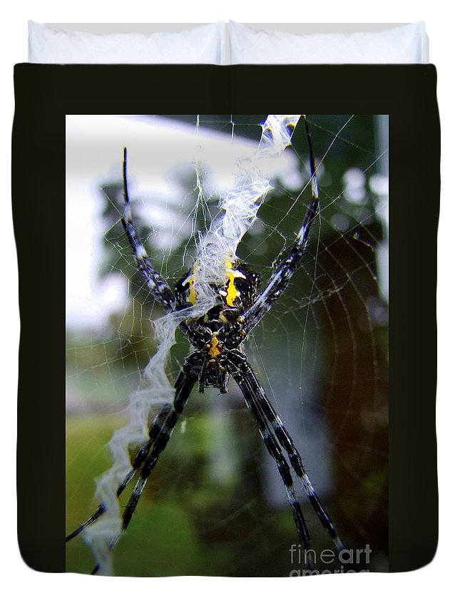 Spider Duvet Cover featuring the photograph Under The Belly Of The Beast by Mary Deal