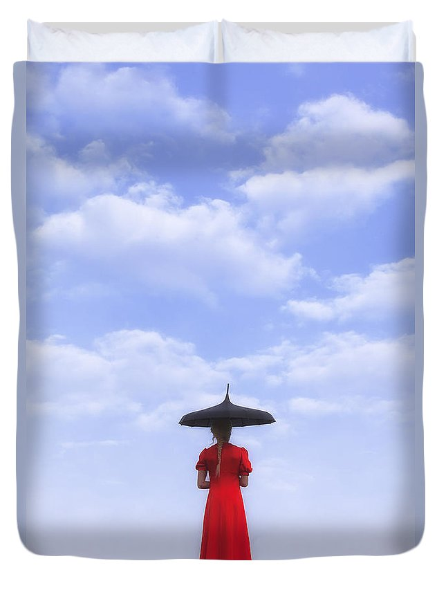 Girl Duvet Cover featuring the photograph Under The Blue Sky by Joana Kruse
