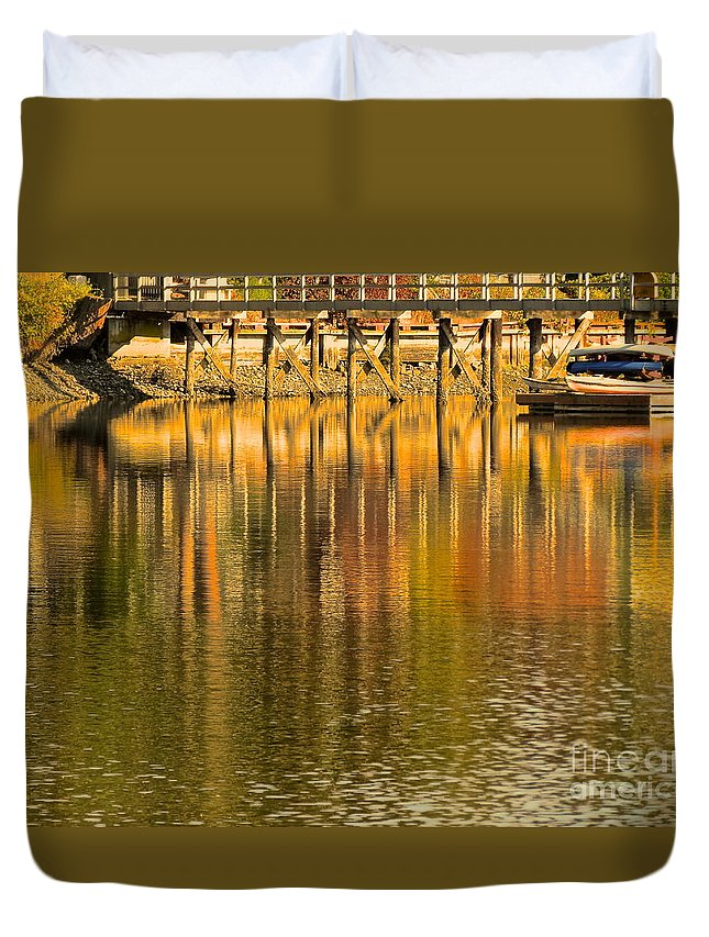 Boat Duvet Cover featuring the photograph Under The Dock by LeLa Becker
