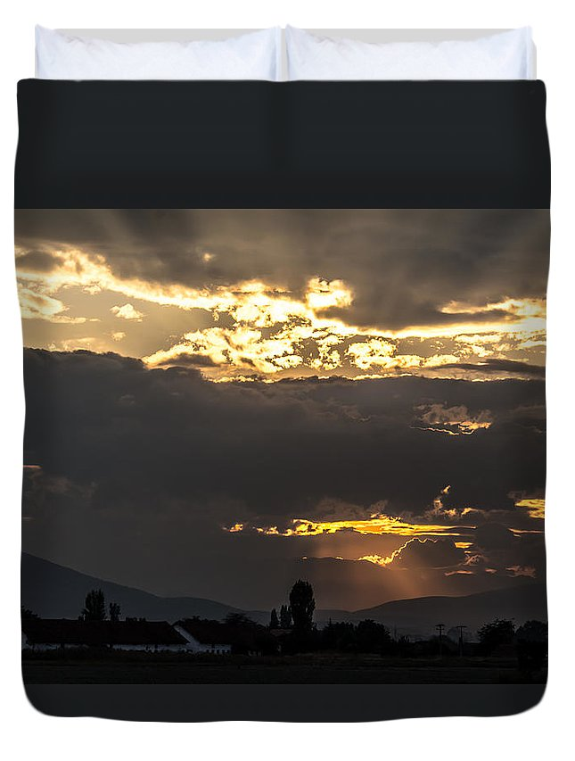 Background Duvet Cover featuring the photograph Under The Lights by Sotiris Filippou