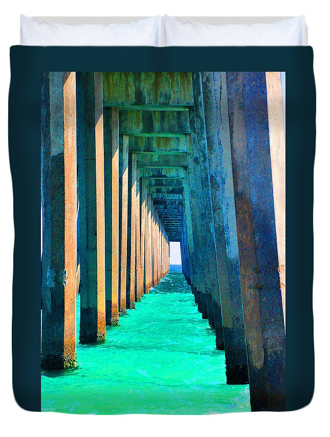 Pier Duvet Cover featuring the photograph Under The Pier Too by Vonda Barnett