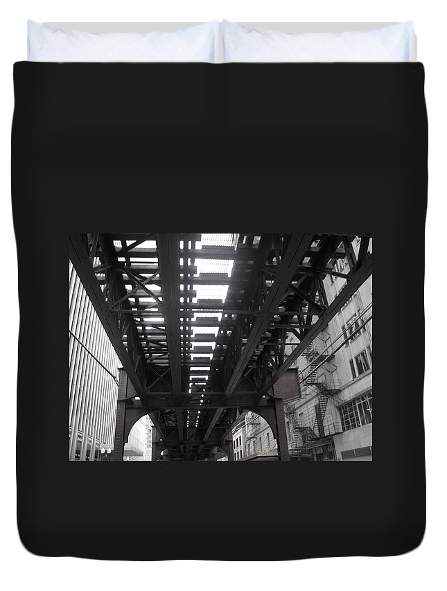 Chicago Duvet Cover featuring the photograph Under The Tracks by Kay Mathews