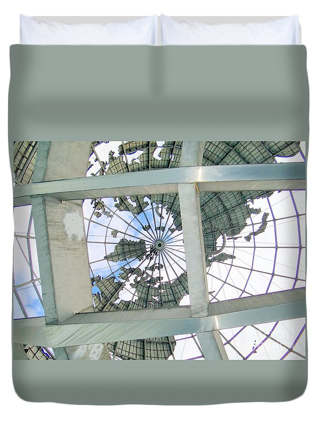 Unisphere Duvet Cover featuring the photograph Under The Unisphere by Ed Weidman