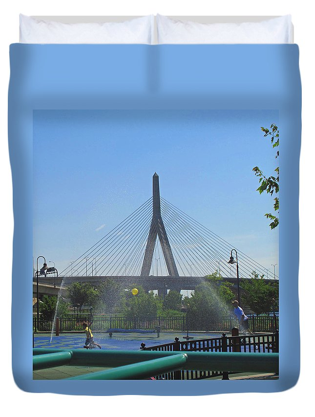 Bridge Duvet Cover featuring the photograph Under The Zakim by Barbara McDevitt