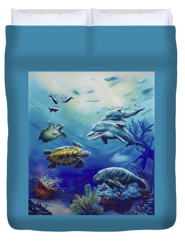 Turtle Duvet Cover featuring the painting Under Water Antics by Thomas J Herring
