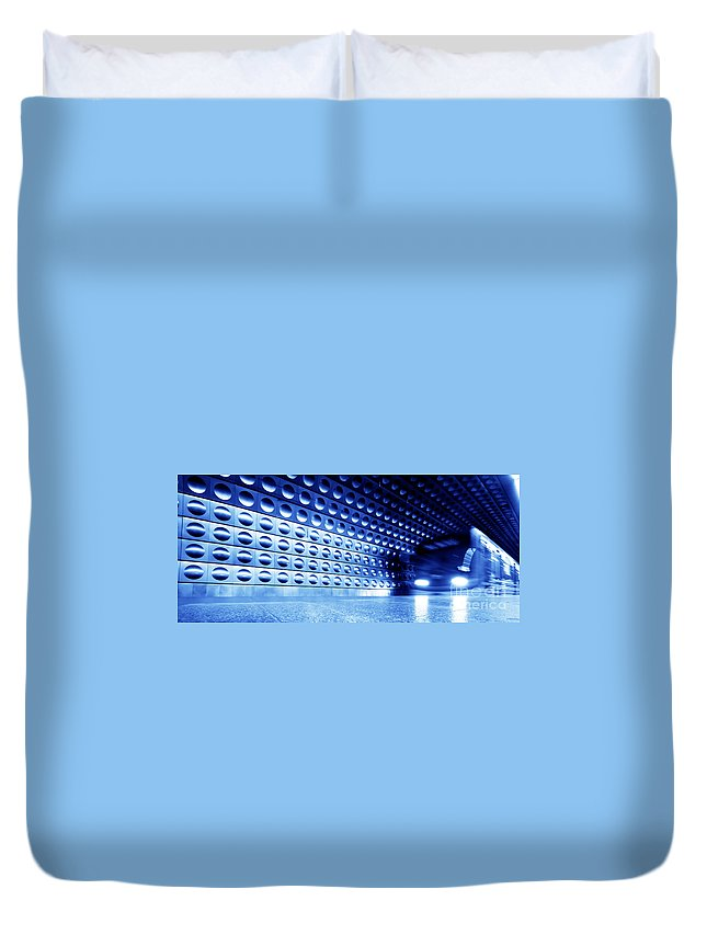 Background Duvet Cover featuring the photograph Underground Train Dynamic Motion by Michal Bednarek