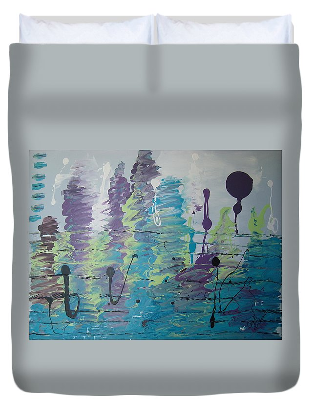 Purple Duvet Cover featuring the painting Underwater Symphony by Carol Lindquist