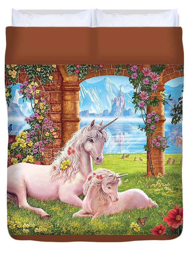 Steve Crisp Duvet Cover featuring the photograph Unicorn Mother And Foal by Steve Crisp