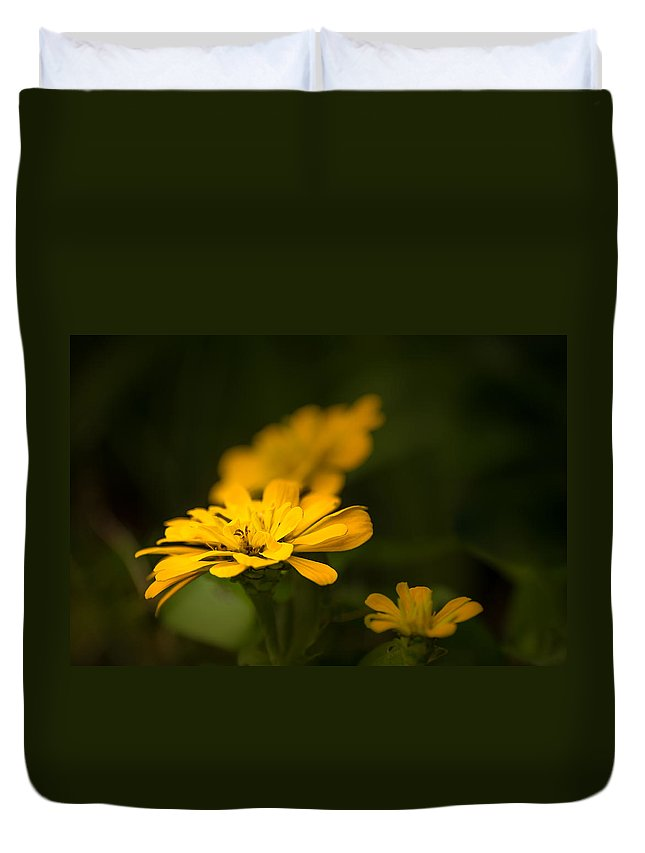 Art Flower Photo Duvet Cover featuring the photograph Unidentified Yellow Flower by Onyonet Photo Studios