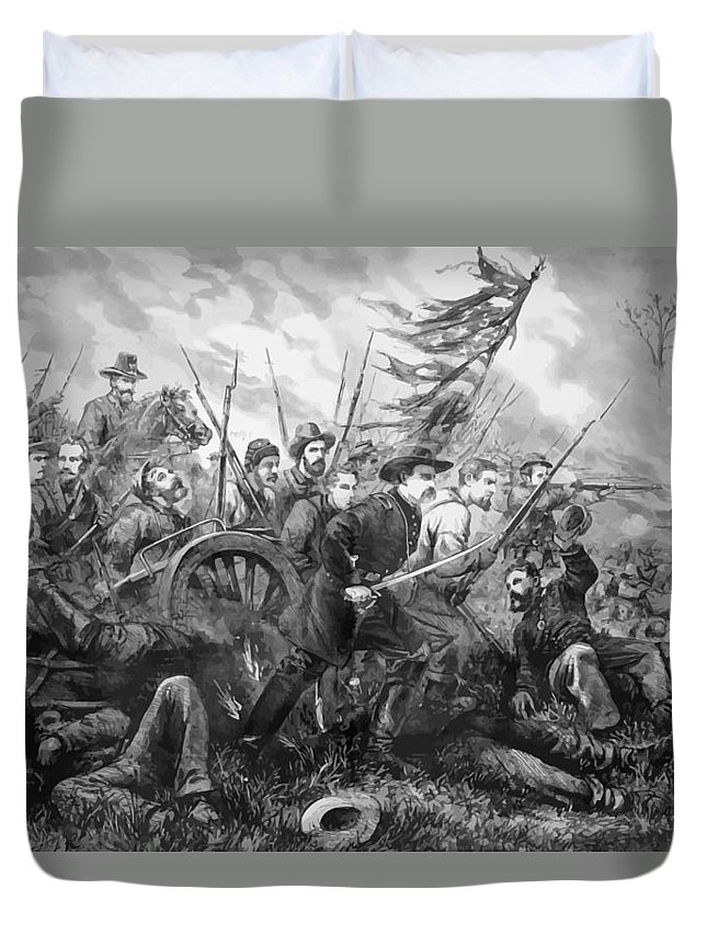 Gettysburg Duvet Cover featuring the painting Union Charge At The Battle Of Gettysburg by War Is Hell Store