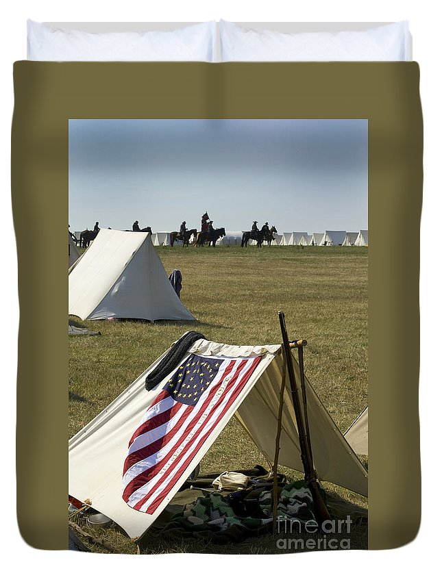 Reenactment Duvet Cover featuring the photograph Union Encampment by Paul W Faust - Impressions of Light