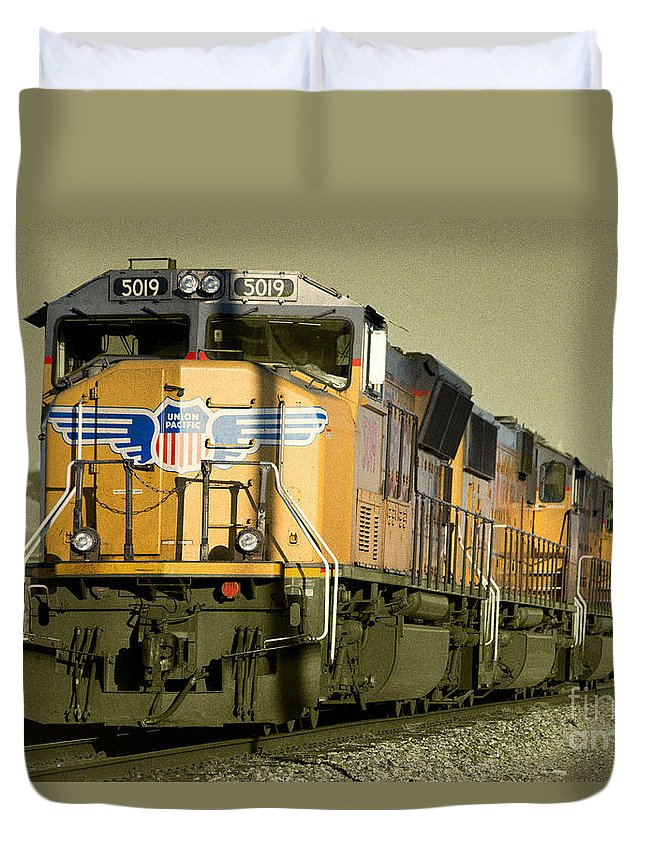 Union Duvet Cover featuring the photograph Union Pacific by Rob Hawkins