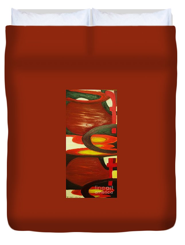 Oil Abstract Duvet Cover featuring the painting Unique I by Yael VanGruber