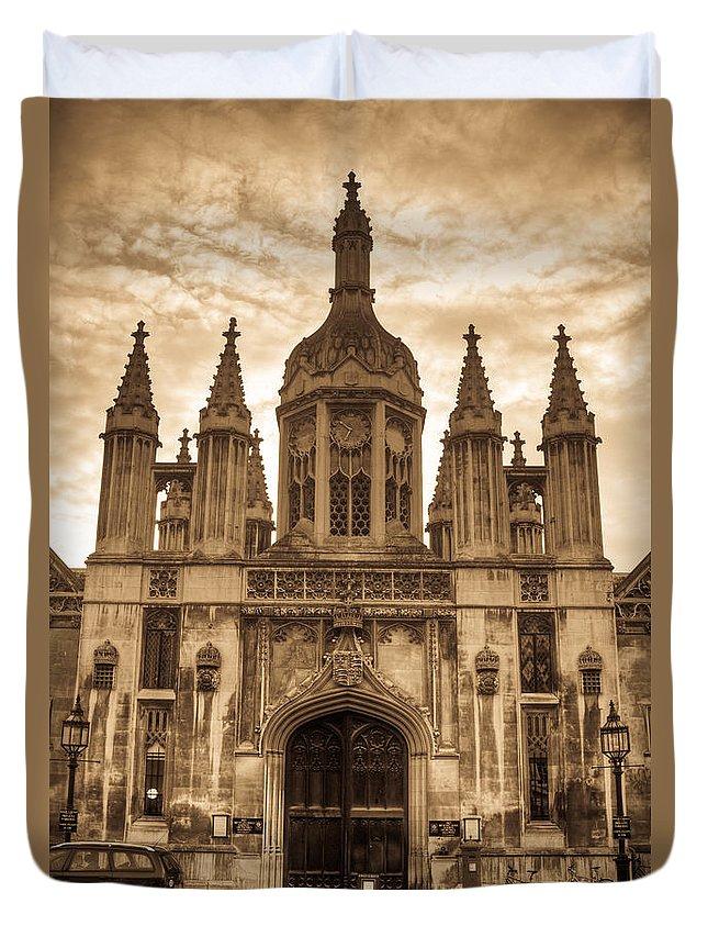 University Duvet Cover featuring the photograph University Entrance Door Sepia by Douglas Barnett