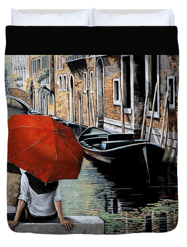 Canal Scene Duvet Cover featuring the painting Uno Sguardo Al Canale by Guido Borelli