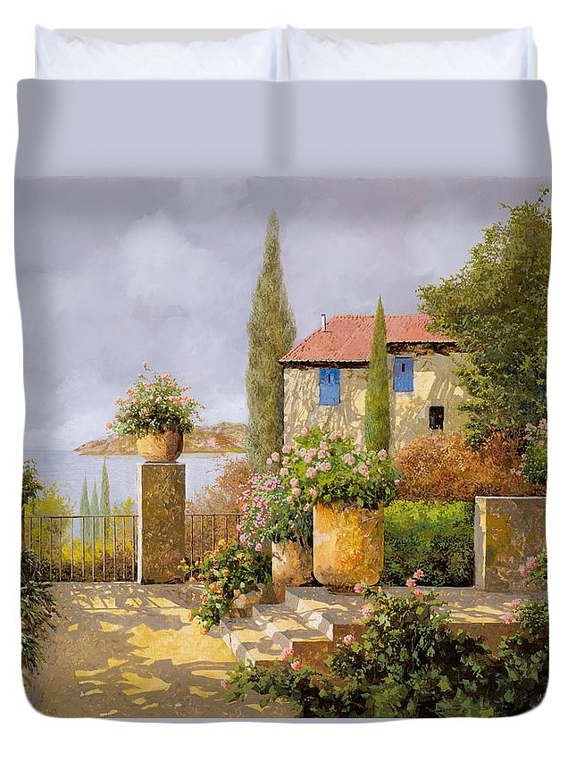 Terrace Duvet Cover featuring the painting Uno Sguardo Sul Mare by Guido Borelli
