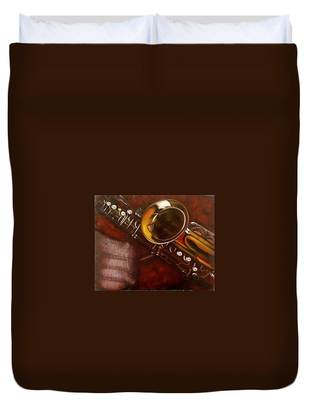 Still Life Duvet Cover featuring the painting Unprotected Sax by Sean Connolly
