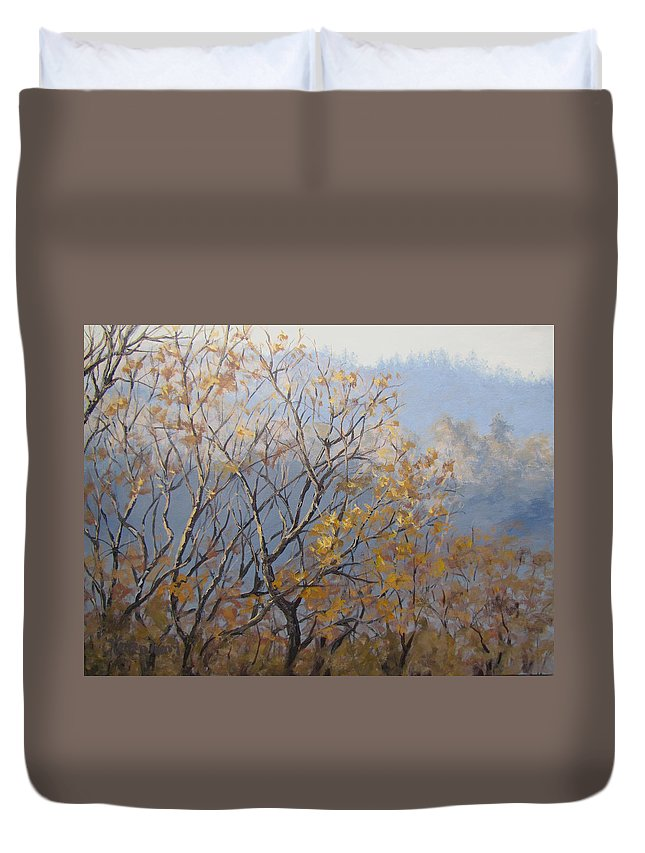 Fall Duvet Cover featuring the painting Until Next Year by Karen Ilari