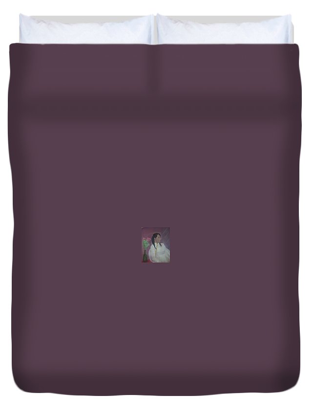 Woman Duvet Cover featuring the painting Untitled #2 by Sheila Mashaw