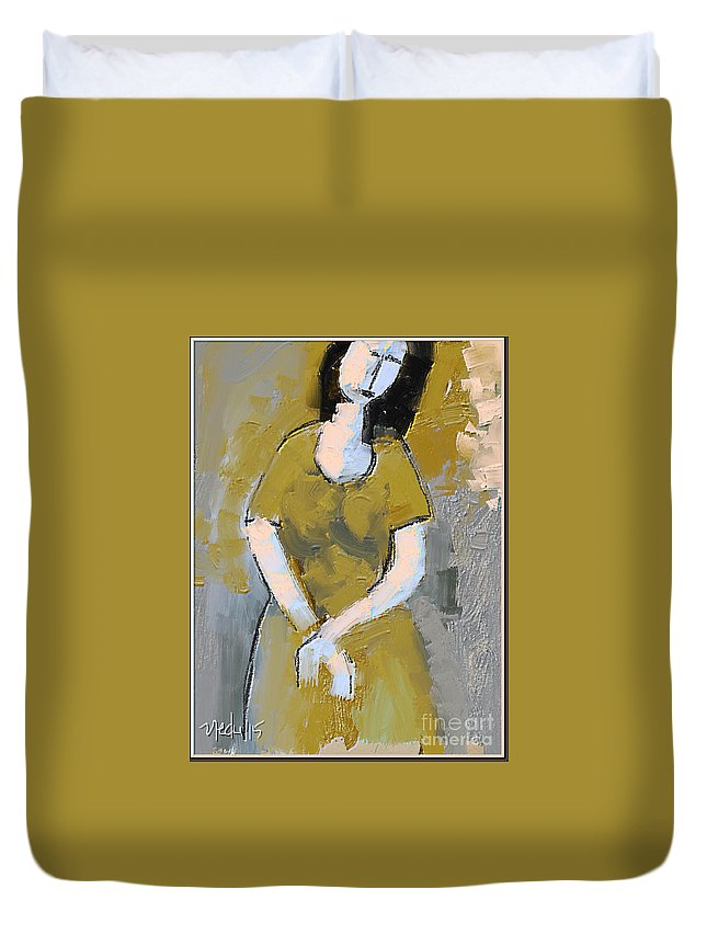 Fine Art Duvet Cover featuring the painting Untitled 556 by Nedunseralathan R