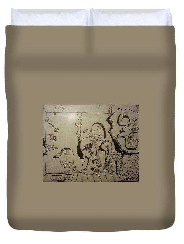 Duvet Cover featuring the drawing Untitled by Jude Darrien