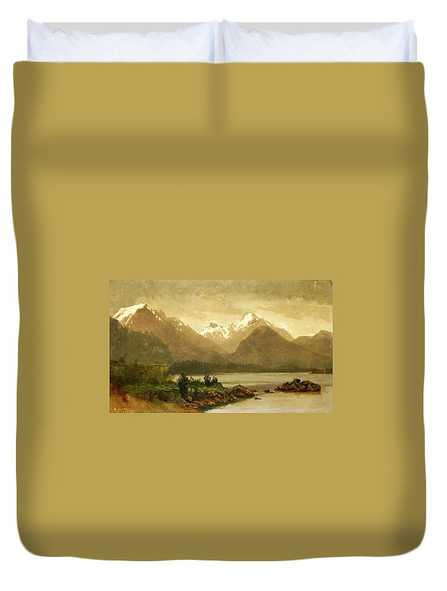 Albert Bierstadt Duvet Cover featuring the painting Untitled Mountains And Lake by Albert Bierstadt