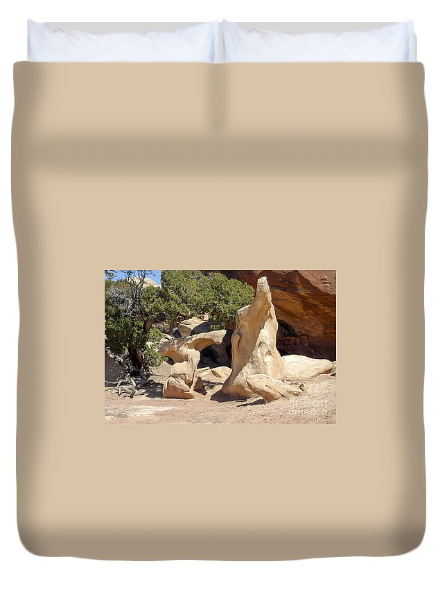 Pothole Point Trail Needles District Canyonlands National Park Utah Trails Parks Canyon Canyons Mountain Mountains Rock Formation Formations Tree Trees Landscape Landscapes Desertscape Desertscapes Duvet Cover featuring the photograph Unusual by Bob Phillips