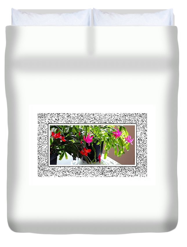Unusual Simultaneous Bloomers 2 Duvet Cover featuring the photograph Unusual Simultaneous Bloomers 2 by Barbara Griffin