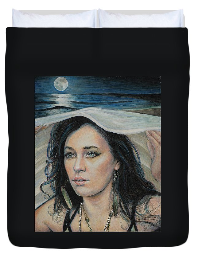 Portrait Duvet Cover featuring the mixed media Forfarshire by Lis Zadravec