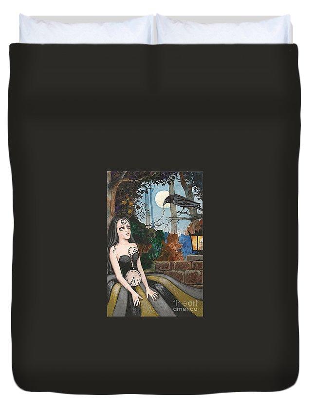 Print Duvet Cover featuring the painting Unwound Clocks by Margaryta Yermolayeva