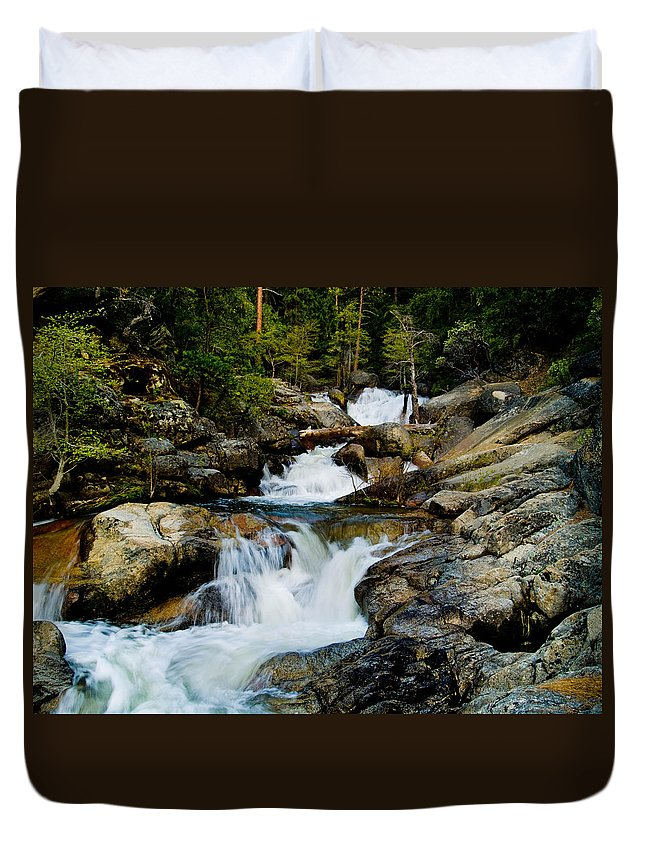 Cascade Creek Duvet Cover featuring the photograph Up The Creek by Bill Gallagher