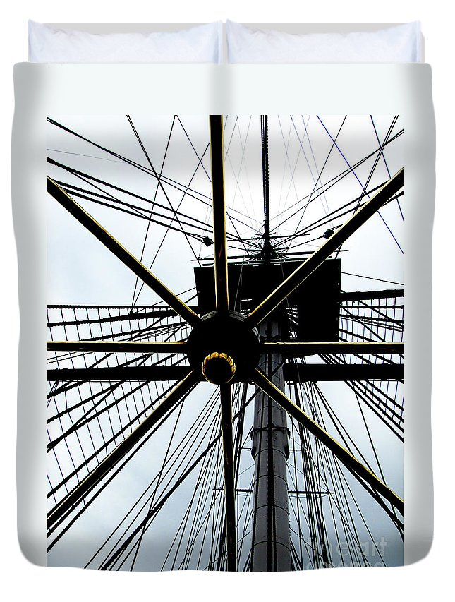 Sailing Duvet Cover featuring the photograph Up The Rigging by Ron Tackett