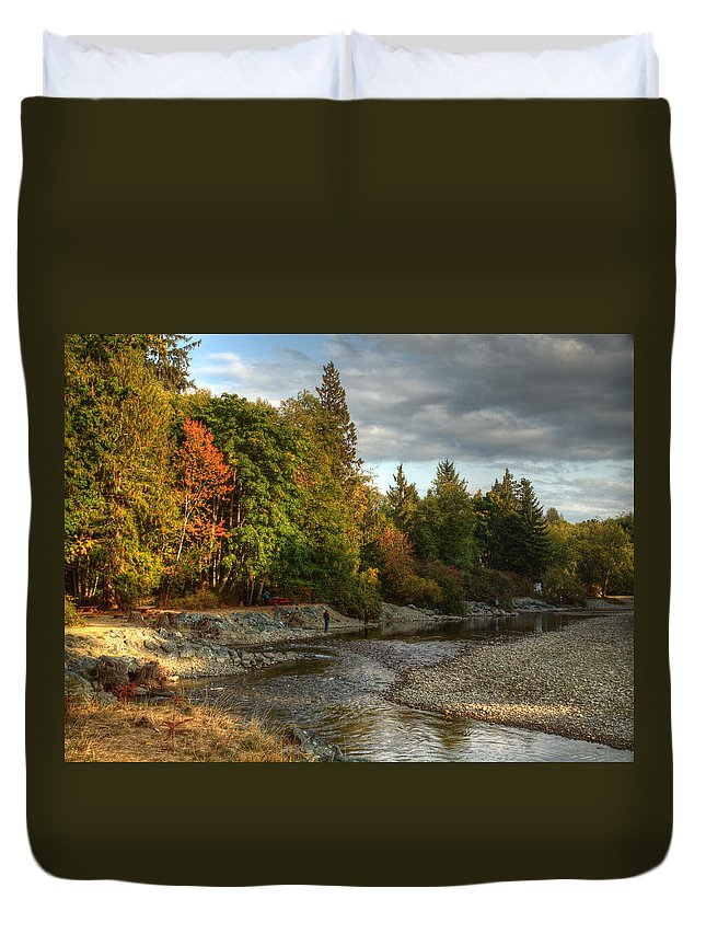 Landscape Duvet Cover featuring the photograph Up The River by Randy Hall