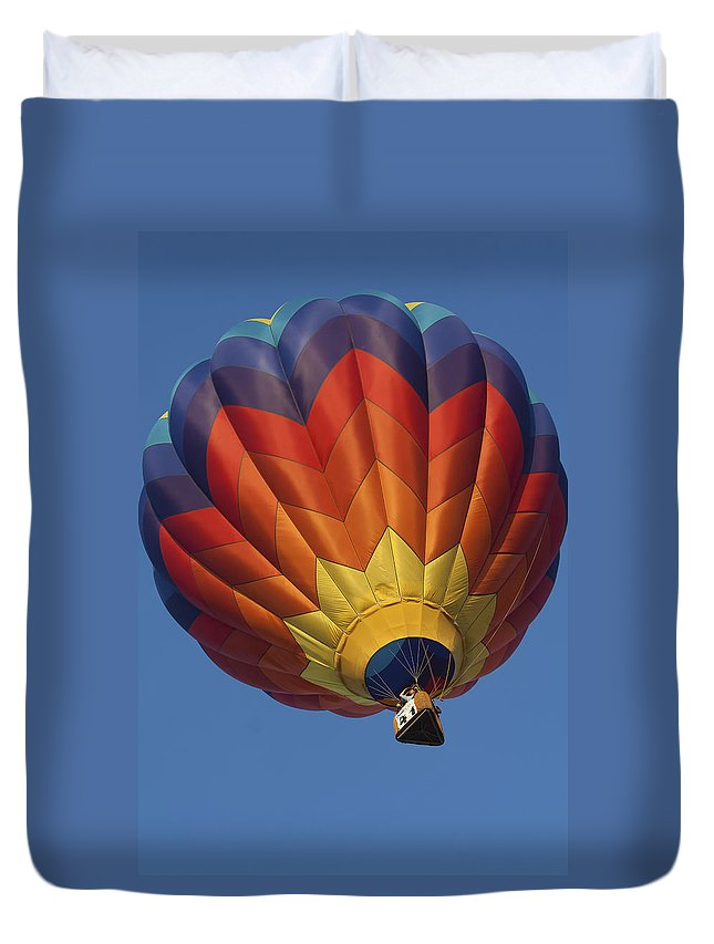 Hot Ait Balloon Duvet Cover featuring the photograph Up Up And Away by Debby Richards