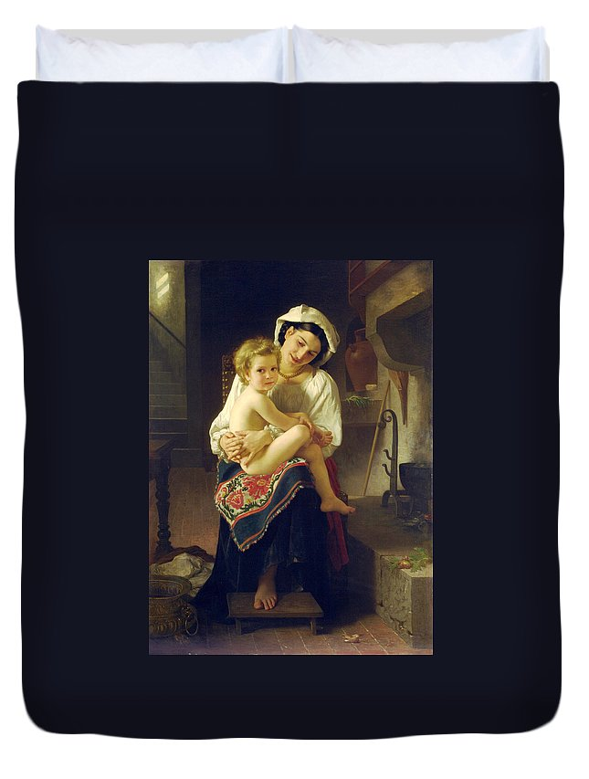 Up You Go Duvet Cover featuring the digital art Up You Go by William Bouguereau