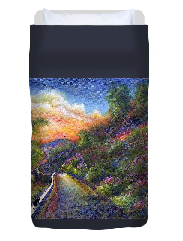 Sunset Duvet Cover featuring the painting Uphill by Retta Stephenson