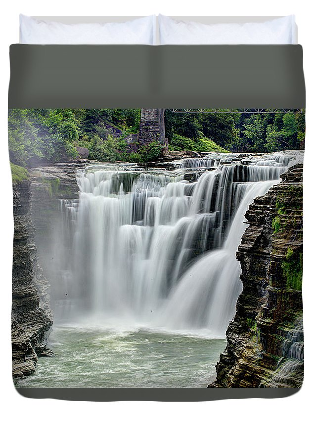 Letchworth State Park Duvet Cover featuring the photograph Upper Letchworth Falls by Tony Shi Photography