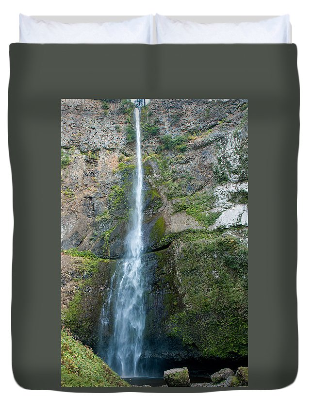 Attraction Duvet Cover featuring the photograph Upper Multnomah Falls by John M Bailey
